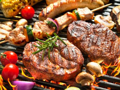 steak and barbecue on the grill